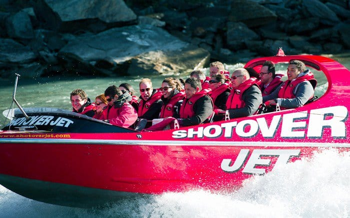 Catherine, Duchess of Cambridge and Prince William, Duke of Cambridge ride on the Shotover Jet on the Shotover River in Queenstown, New Zealand on April 13, 2014