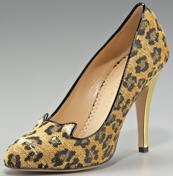 Charlotte Olympia Cat Faced Fabric Pumps