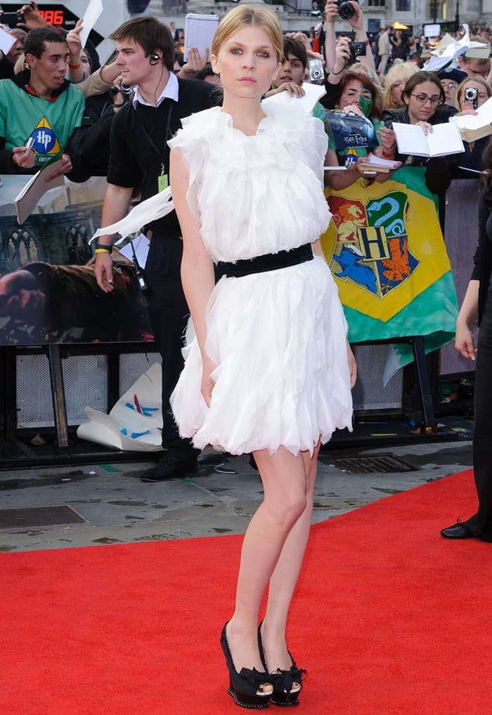 Clémence Poésy attends the world Premiere of Harry Potter and The Deathly Hallows - Part 2 held at Trafalgar Square in London, England on July 7, 2011