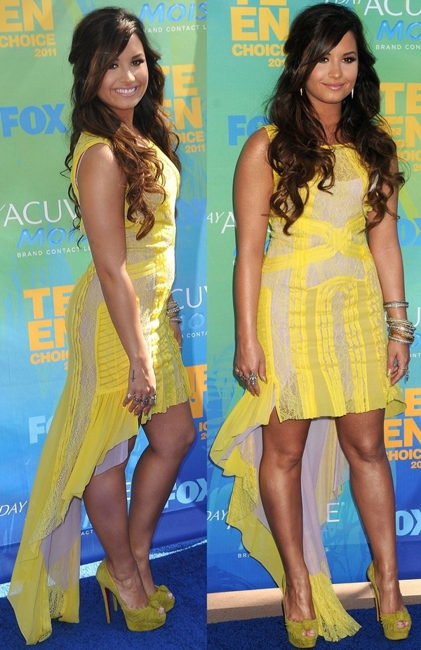 Demi Lovato in a BCBG Max Azria chiffon and lace dress