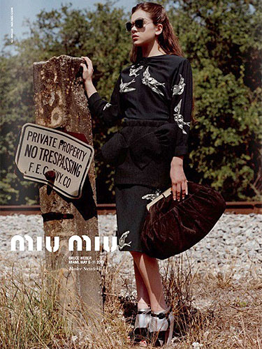 A leaked photo from Hailee Steinfeld's Miu Miu modeling project
