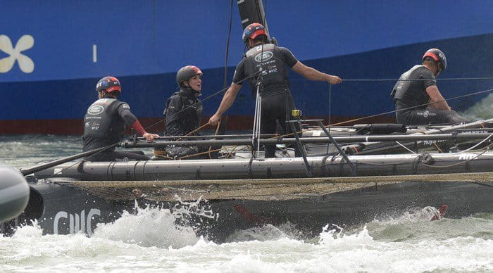 The Duchess of Cambridge has a boat ride on BAR - Sir Ben Ainslie Racing team America's Cup training boat in Portsmouth