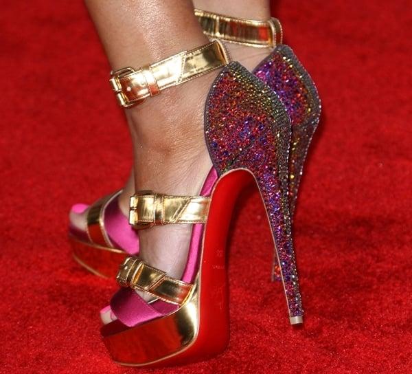 a86df8678808 Nicki Minaj in Opening Ceremony Margot Wedge Ankle Booties