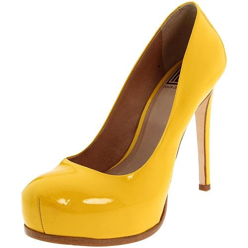 Pour La Victoire Irina platform pump in yellow patent