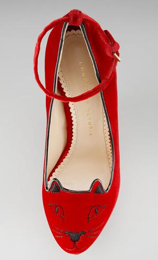 Charlotte Olympia Cat Face Ankle Strap Wedges
