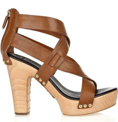 Givenchy Cross Over Leather Platform Sandals