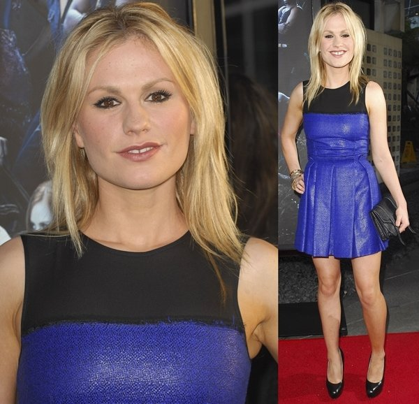 Anna Paquin wearing a Proenza Schouler Pre-Fall 2010 dress and a PS1 clutch