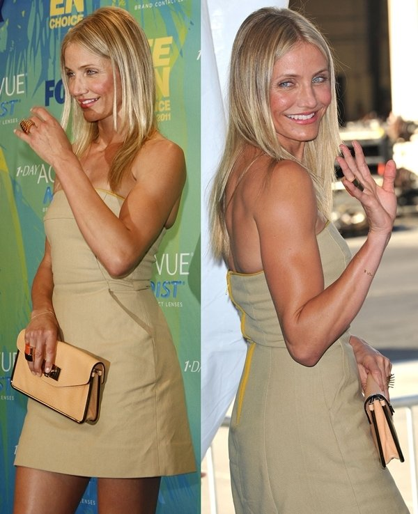 Cameron Diaz in a simple beige strapless dress by A.L.C.