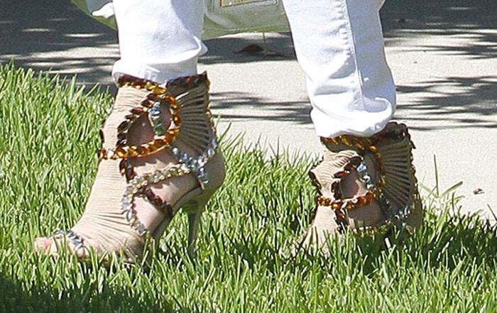 Katherine Heigl wearing Jimmy Choo 'Elba' jeweled suede sandal booties