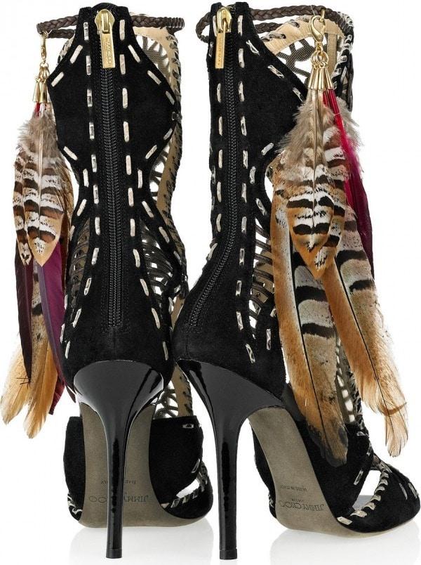 Jimmy Choo 'Kevan' Feather Trim Gladiator Heels