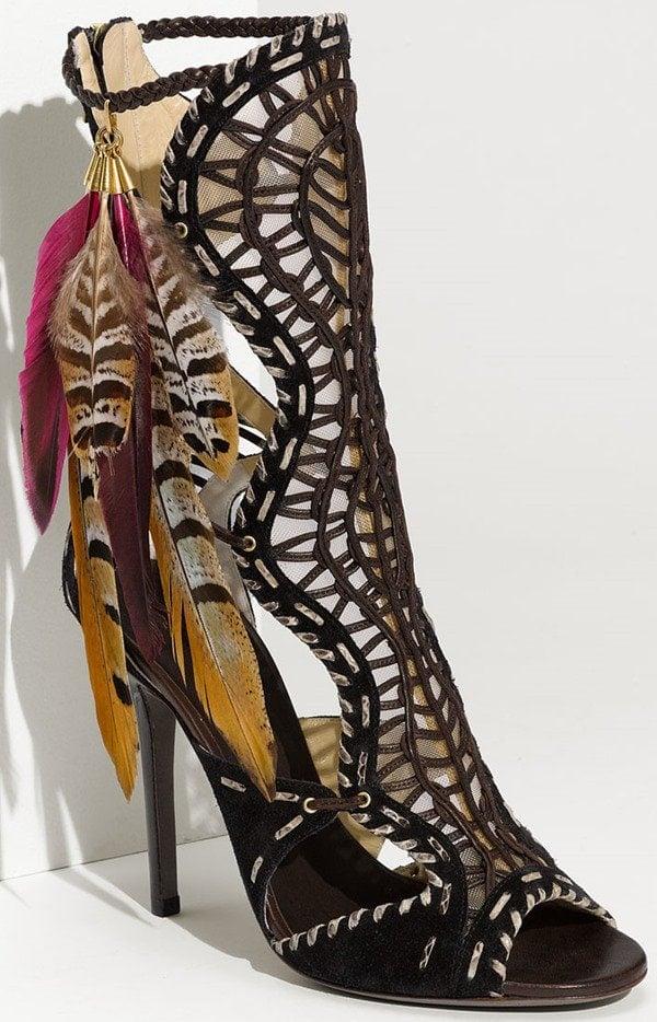 Jimmy Choo 'Kevan' Feather Trim Gladiator Sandal