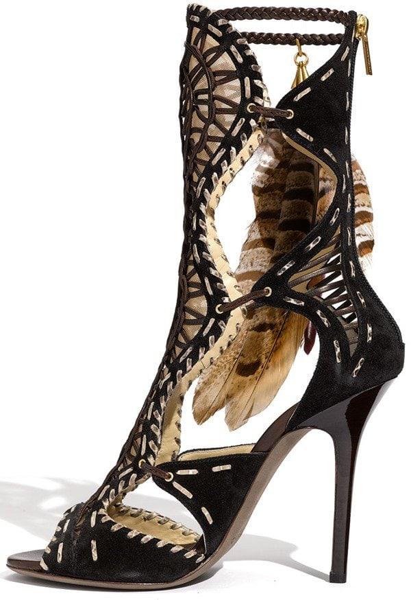 Jimmy Choo 'Kevan' Feather Trim Gladiator Sandals