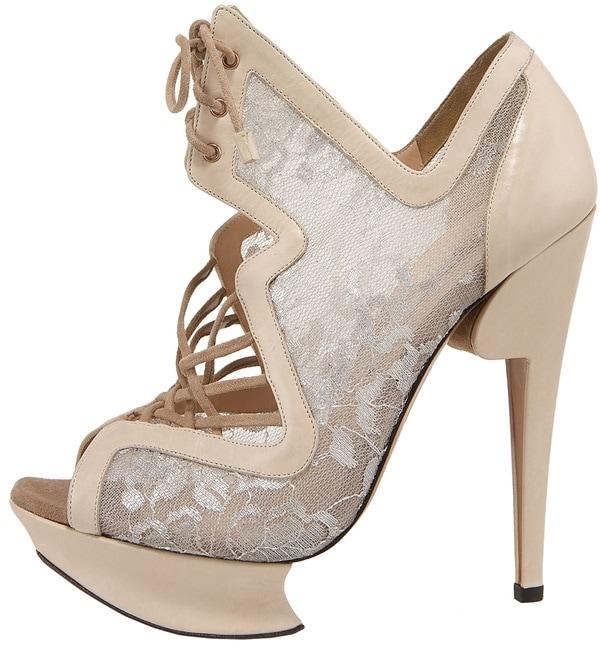 Nicholas Kirkwood Lace-Up Lace Platform Sandal Side