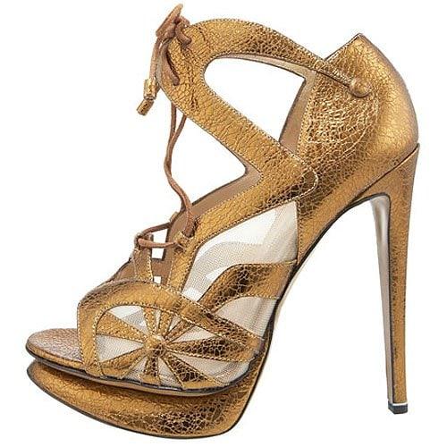 Nicholas Kirkwood Crackled Metallic Lace-Up Sandals