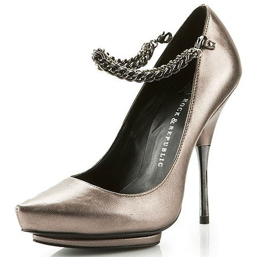 Rock & Republic 'Alayna' Chain Pumps in Pewter Leather
