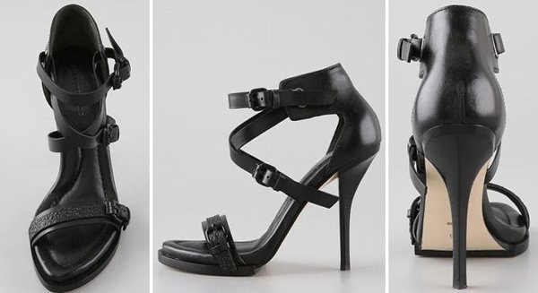 These high-heel leather sandals feature a buckled, pebbled leather strap at the vamp and buckled, crisscross straps at the ankle cuff