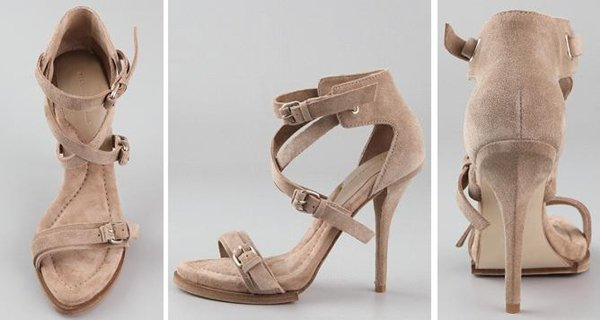 These high-heel suede sandals feature a buckled strap at the vamp and buckled, crisscross straps at the ankle cuff