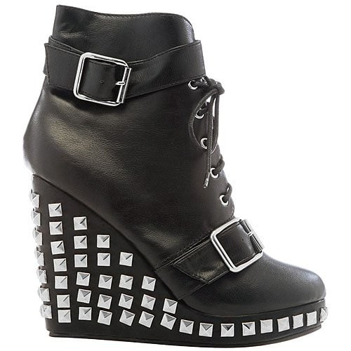 Studded buckled wedge booties