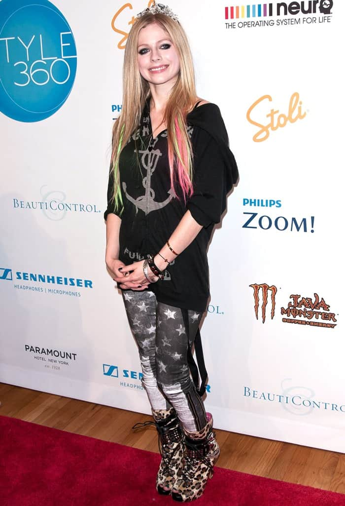 Avril Lavigne attends the Abbey Dawn Spring 2012 fashion show during Style360 at the Metropolitan Pavilion in New York City on September 12, 2011
