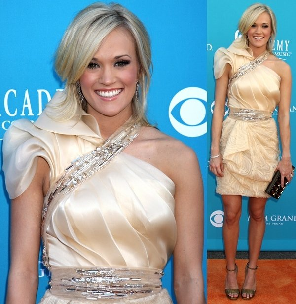 3892a34aec4 Carrie Underwood Wears Nude Sam Edelman  Roza  Spiked Pumps