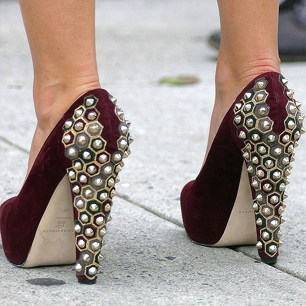 Blake Lively wearing'Power Studs' suede platform pumps from Brian Atwood