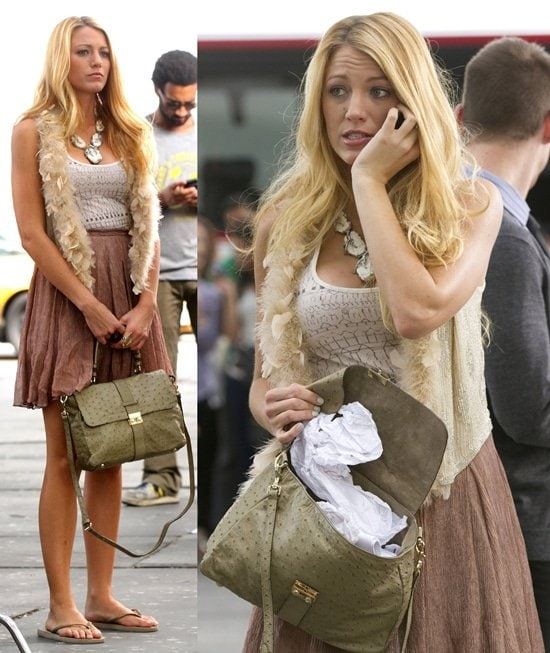 Blake Livelywearing a geometric print white tank top, a slightly wrinkled lavender pleated skirt, and a champagne-colored sequin vest with feather trim