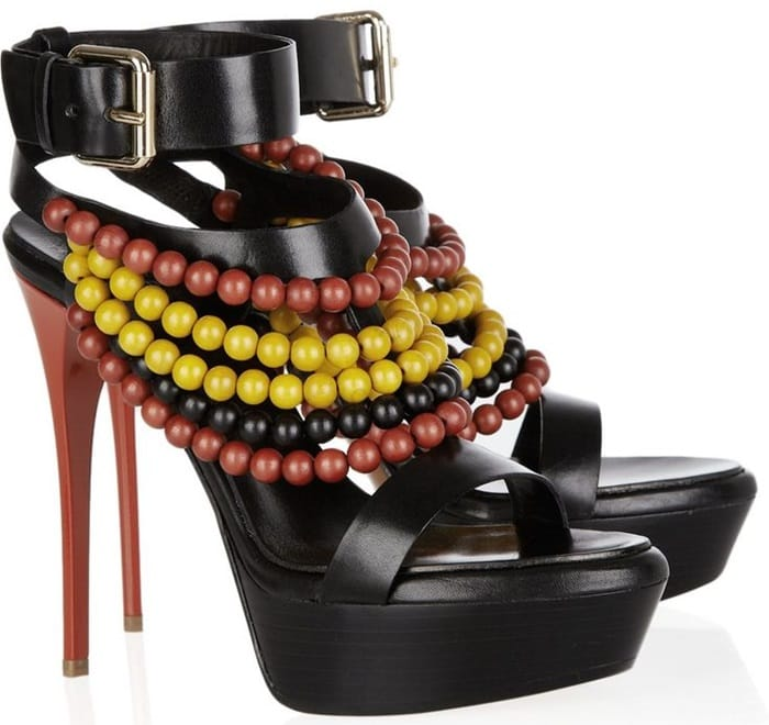 Burberry Leather Sandals With Strung Wooden Beads