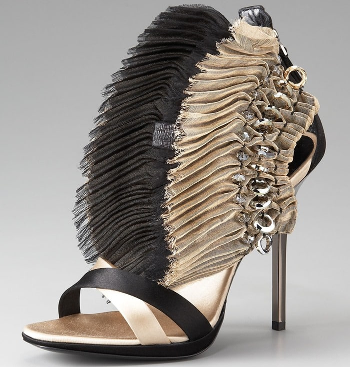 Diego Dolcini Gold Fanned Zip-back Sandal