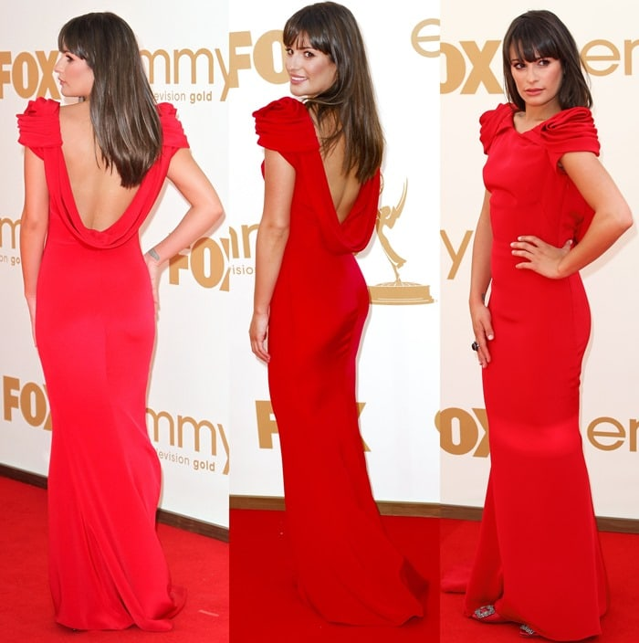 Lea Michele wearing a red dress with Hangisi heels from Manolo Blahnik