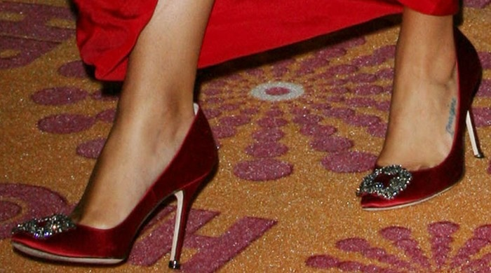 Lea Michele wearing Hangisi heels from Manolo Blahnik