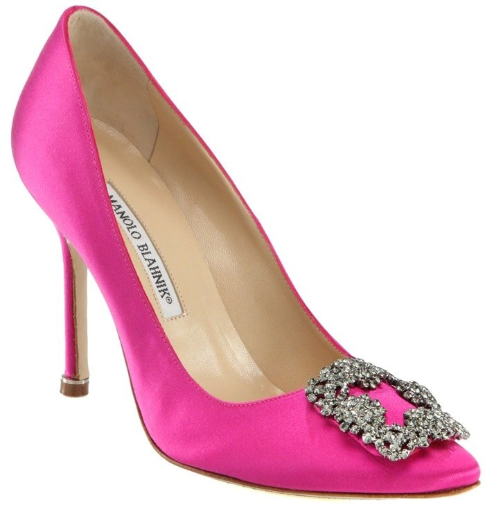 Manolo Blahnik Pink Hangisi Jewel Satin Pumps
