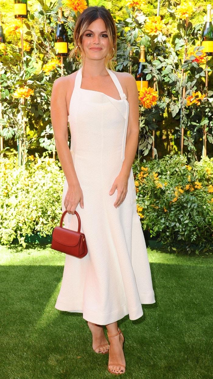 Rachel Bilson's white virgin wool apron dress from Jacquemus