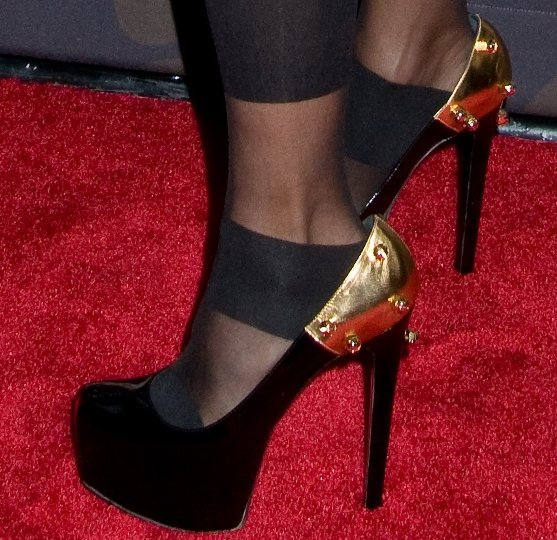 Ruthie Davis styled her towering heels with black stockings
