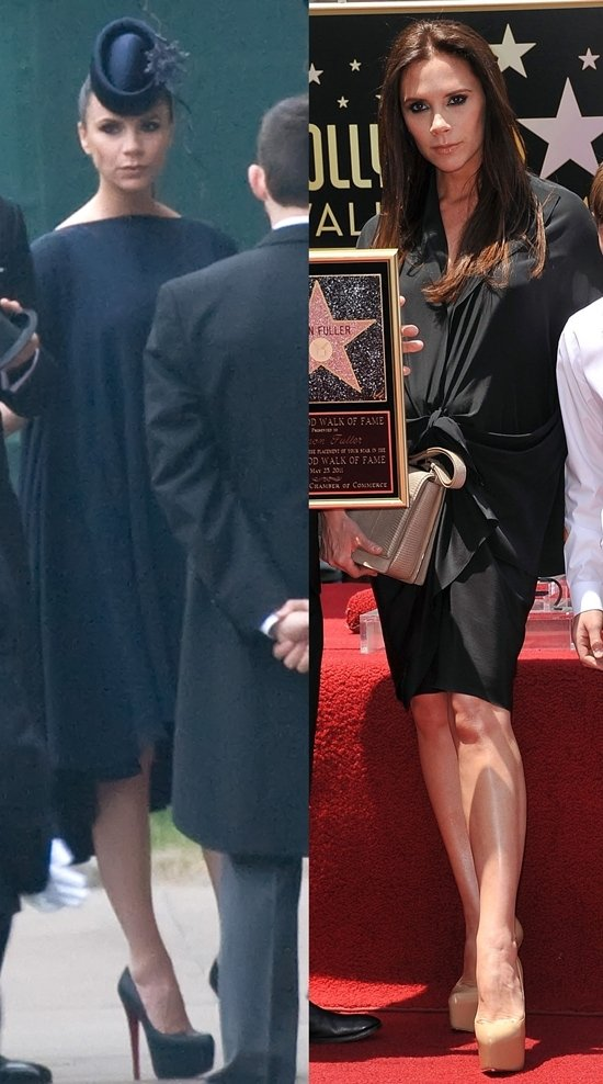 A pregnant Victoria Beckham wears high heels to the Royal Wedding on April 29, 2011; at Simon Fuller's Hollywood Walk of Fame ceremony on May 23, 2011