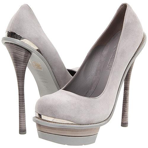 Alexander McQueen metal toe and heel platform pumps