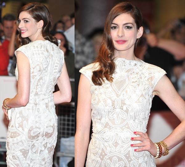 Anne Hathaway One Day: Anne Hathaway Wears Wrong Shoes With Alexander McQueen Dress