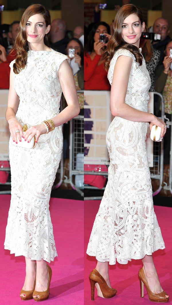Anne Hathaway wearing a dress from the Alexander McQueen Resort 2012 Collection