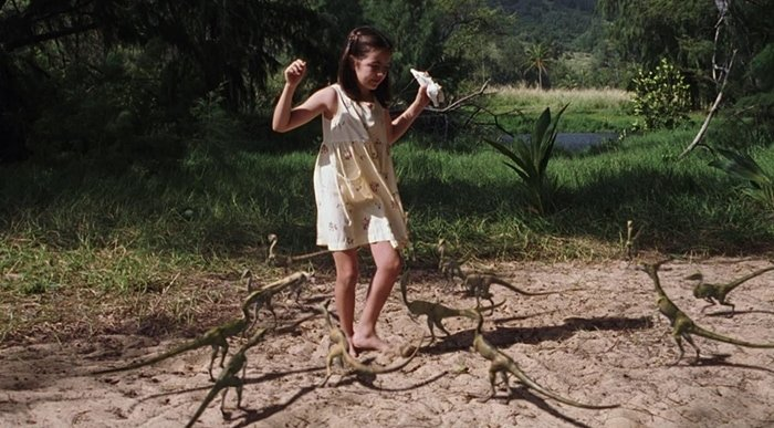 Camilla Belle's character Cathy Bowman is attacked by a pack of Compsognathus in The Lost World Jurassic Park