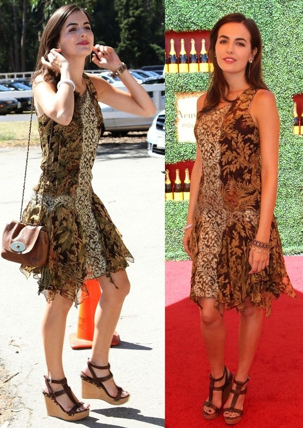 Camilla Belle wears a Ralph Lauren dress and wedge heels on the red carpet of the Veuve Clicquot Polo Classic Los Angeles