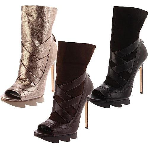 Camilla Skovgaard crisscross strap saw sole booties in alba metallic, ebony and black