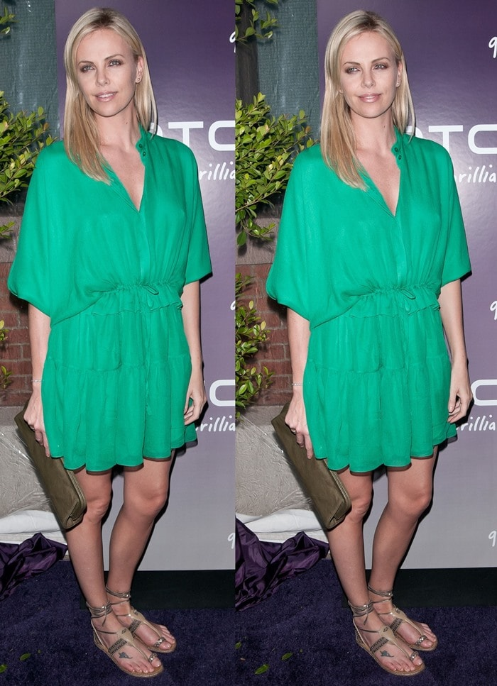 Charlize Theron sported beautiful flat ankle wrap 'Hola Chica' toe ring sandals from Christian Louboutin