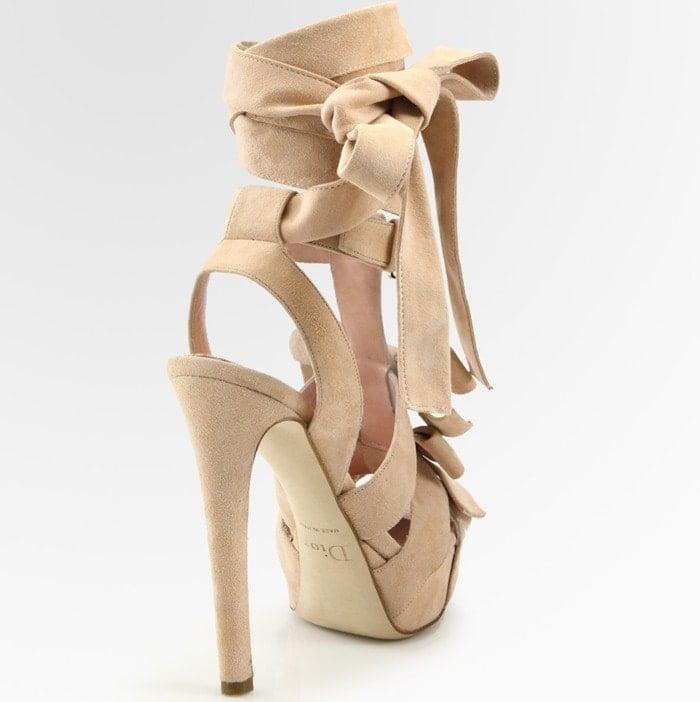 Dior Pink Ingenue Suede Bow T Strap Sandals