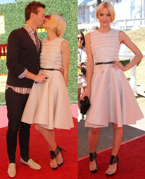 Jaime King kissing her husband, Kyle Newman, at the Veuve Clicquot Polo Classic Los Angeles
