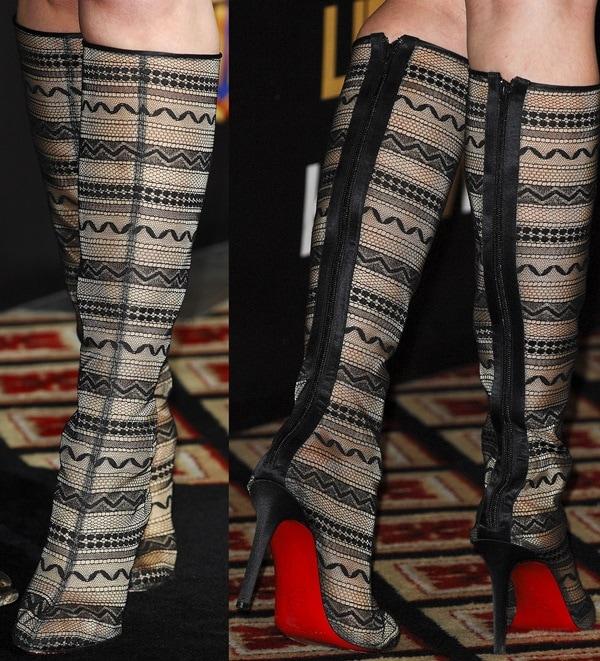 Katherine Heigl wears unique Christian Louboutin boots