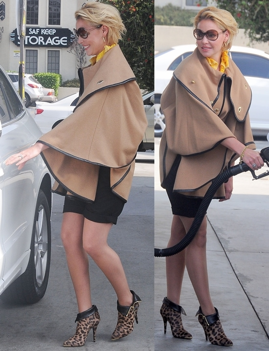 Katherine Heigl flashes her legs while stopping for gas in Hollywood