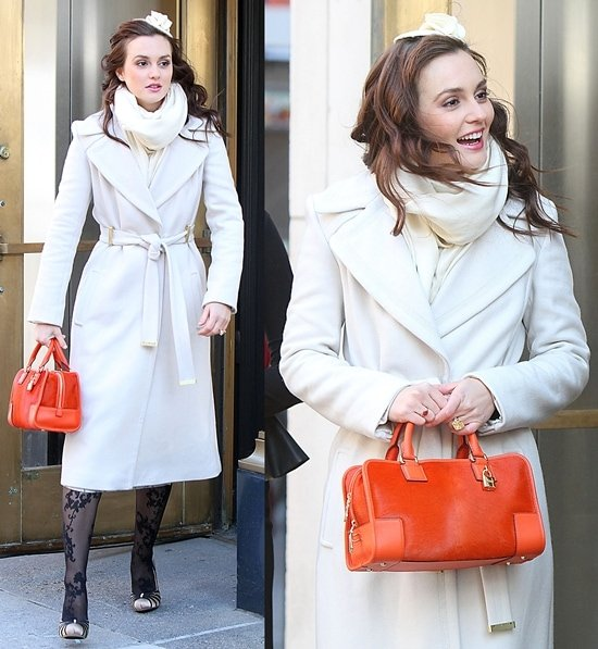 """Leighton Meester gets ready to film a scene for """"Gossip Girl""""on location in New York City"""