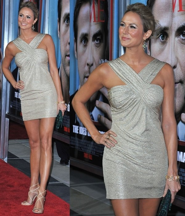 Stacy Keibler with upswept hair flaunts her sexy legs at the premiere of 'The Ides Of March'