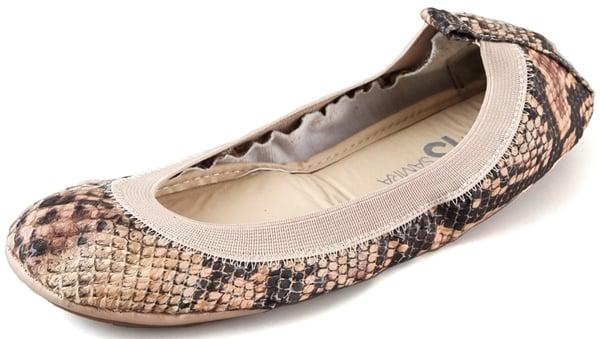 Yosi Samra Elastic Topline Ballet Flats in Beige Snake Print