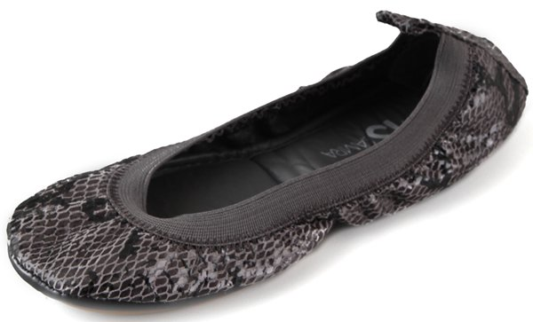 Yosi Samra Elastic Topline Ballet Flats in Charcoal Snake Print