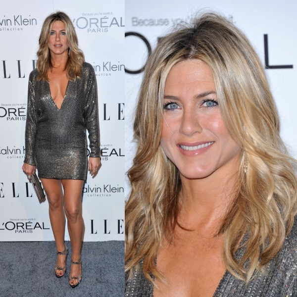 Jennifer Aniston with slightly tousled hair at ELLE's 18th Annual Women in Hollywood Tribute